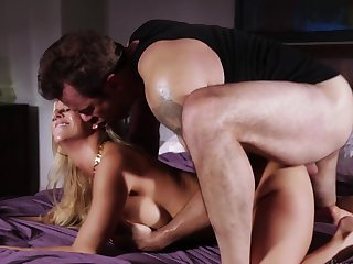 Blonde Alexis Fawx with juicy breasts feels great with mans throbber deep in her pussy