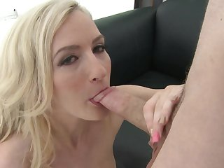 Blonde needs nothing but man cream on her face to get satisfaction