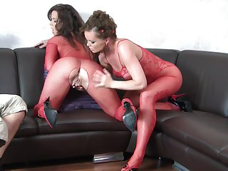 Brunette Cindy Dollar and Silvia Saint play with each other's erect nipples and snatch in girl-on-girl action