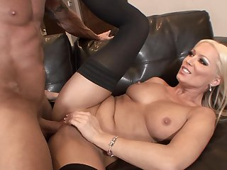 Blonde Diana Doll gets down on her knees to take guy's sausage deep down her throat