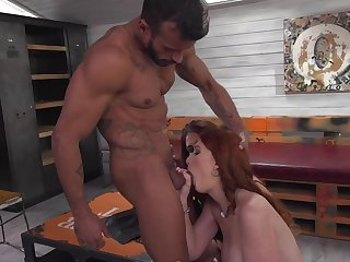 Redhead with juicy melons has great dick sucking experience and expands it with hard cocked guy
