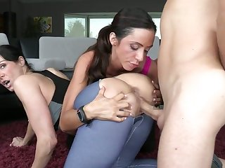 Ariella Ferrera with big hooters and bald snatch has a great desire to be face fucked by Michael Vegas
