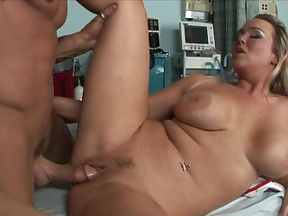 Blonde Abbey Brooks with giant breasts makes her sex partner bust a nut