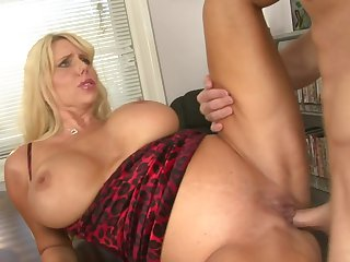 Blonde Karen Fisher gets cum drenched after sex with horny guy