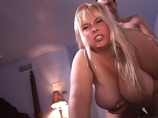 Blonde tries her hardest to make man cum