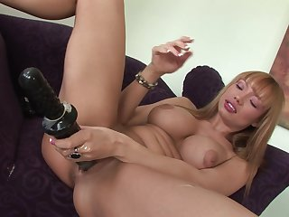Blonde with massive tits strips and plays with herself for your viewing pleasure