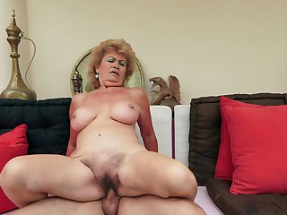 Effie with massive hooters gets turned on then skull fucked