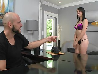 Cute Riley Carson shows her tits and pussy on casting