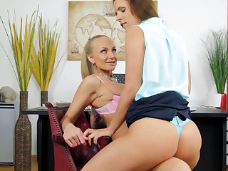 Lesbians Brandy Smile and Kayla Green feel horny