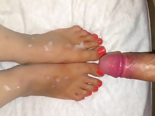 Wife feet covered cum