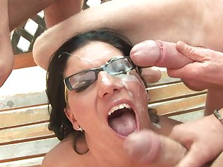 Teen needs nothing but a hard schlong in her slit to be happy in interracial porn action