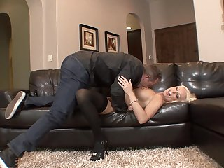 Blonde porn girl Diana Doll shows off her sexy body as she gets her mouth fucked by mans erect tool