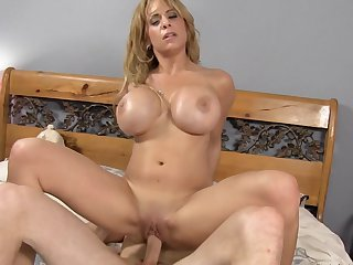 Blonde with huge breasts taking sex to the whole new level as she fucks with hard dicked dude