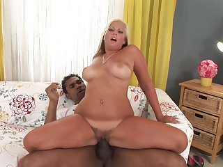 Blonde blows guy's pole with passion