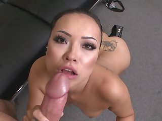 Brunette oriental whore is good at love torpedo sucking and loves it